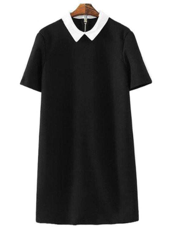 best Short Sleeves Color Block Dress - BLACK S
