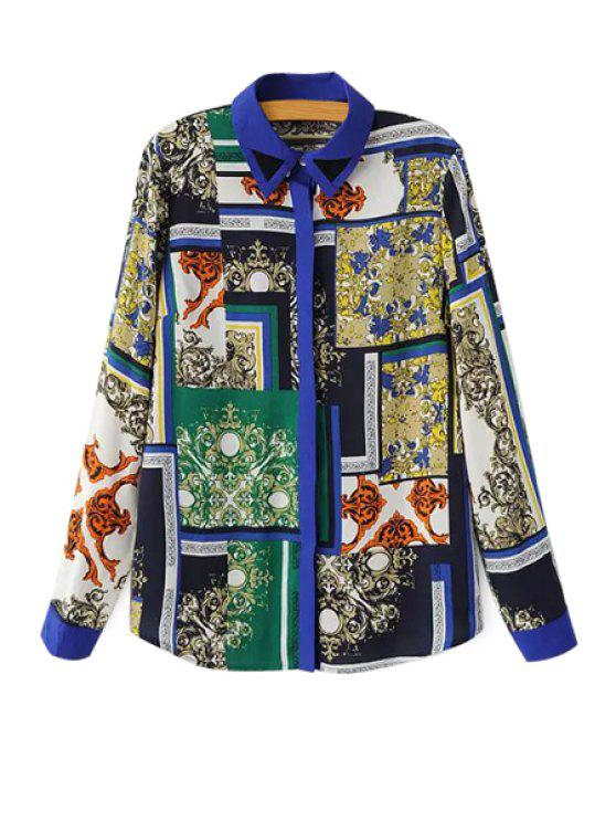 best Retro Print Color Block Shirt - COLORMIX S