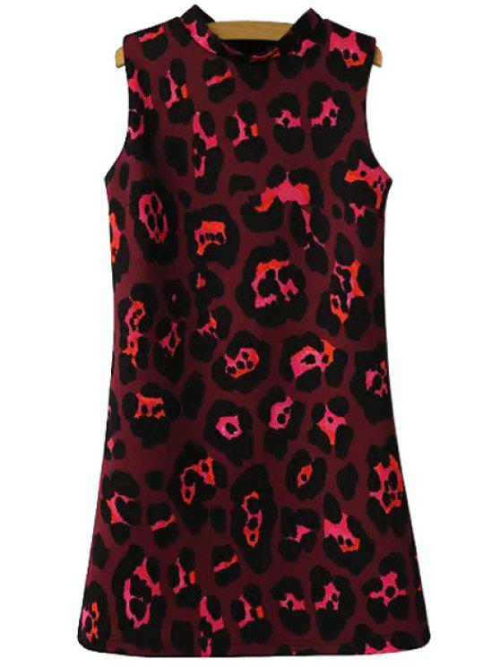 chic Stand Collar Leopard Print Sundress - DARK RED S