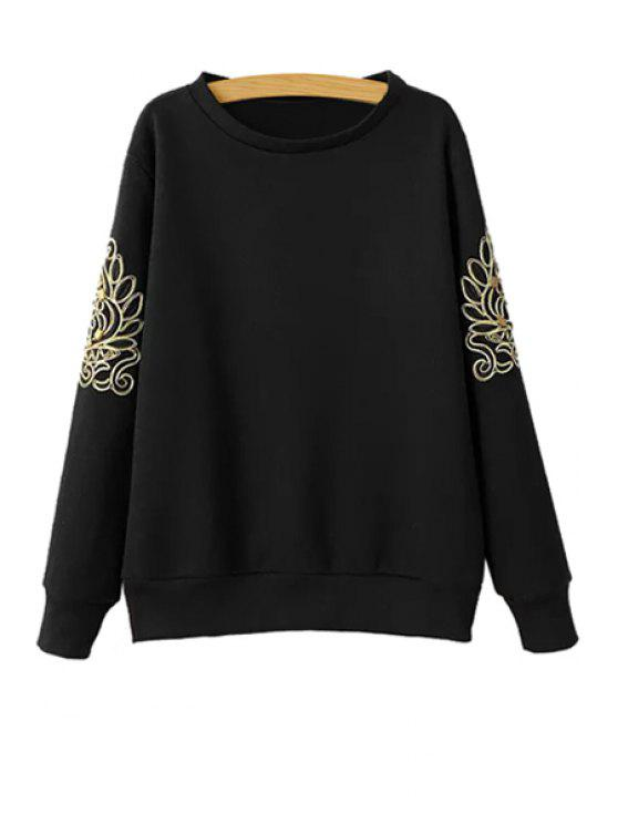 women Long Sleeve Embroidery Sweatshirt - BLACK S