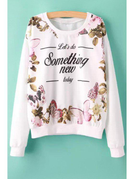 ladies Butterfly and Letter Print Sweatshirt - WHITE S