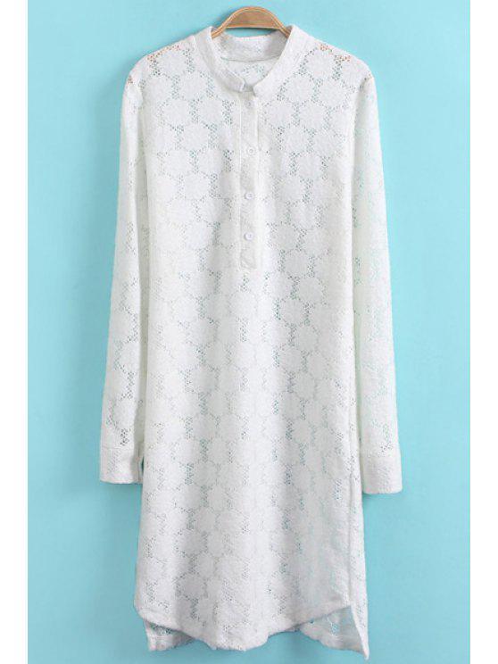 sale Long Sleeve White Lace Dress - WHITE S