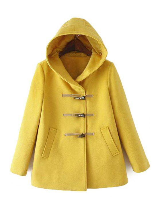 women Hooded Yellow Coat - YELLOW S