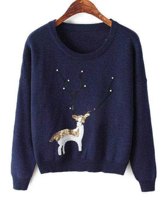 affordable Deer Pattern Sequin Sweater - CADETBLUE ONE SIZE(FIT SIZE XS TO M)
