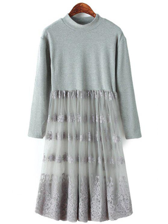 outfits Embroidery Voile Splicing Dress - GRAY ONE SIZE(FIT SIZE XS TO M)