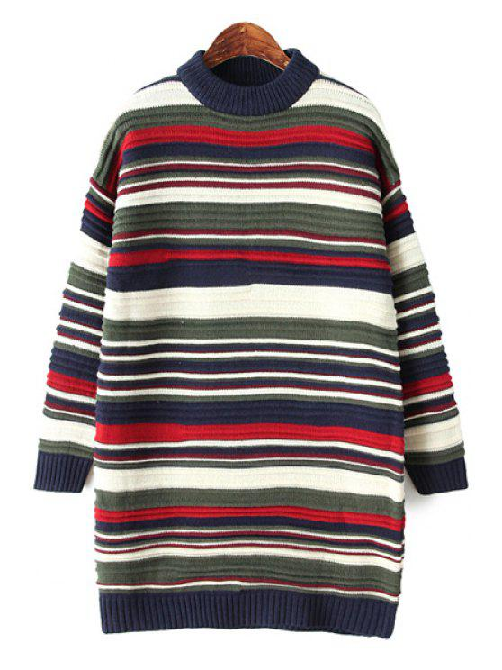 fashion Striped Long Sleeves Sweater Dress - STRIPE ONE SIZE(FIT SIZE XS TO M)