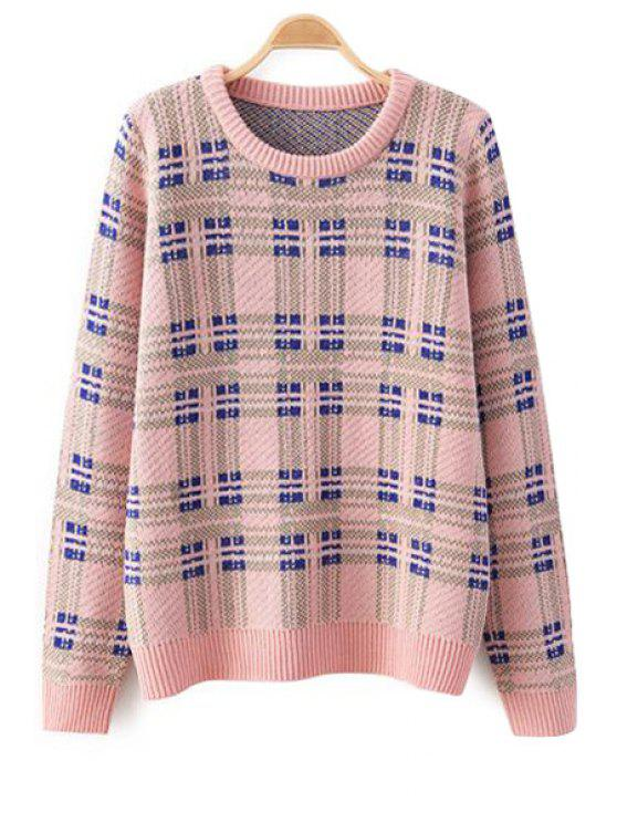 women Long Sleeves Checked Sweater - PINK S