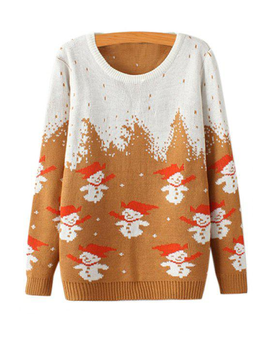 outfit Snowman Pattern Long Sleeve Sweater - COFFEE ONE SIZE(FIT SIZE XS TO M)
