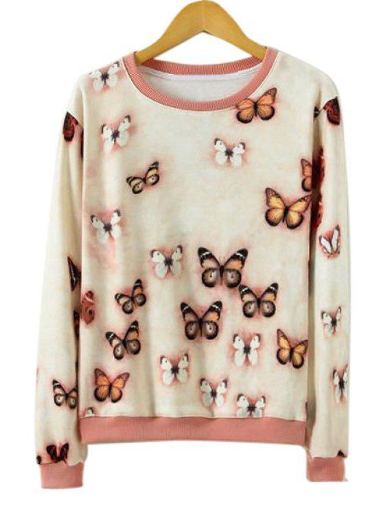shops Butterfly Pattern Long Sleeve Sweater - APRICOT S