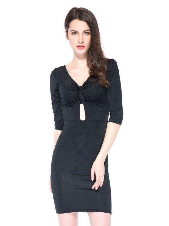 women's Black Plunging Neck 3/4 Sleeve Dress - BLACK 2XL