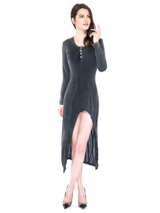 affordable Solid Color High-low Hem Dress - DEEP GRAY XS
