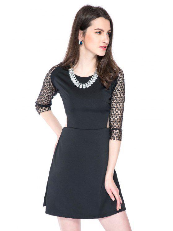 chic Crochet Splicing 3/4 Sleeve Dress - BLACK L