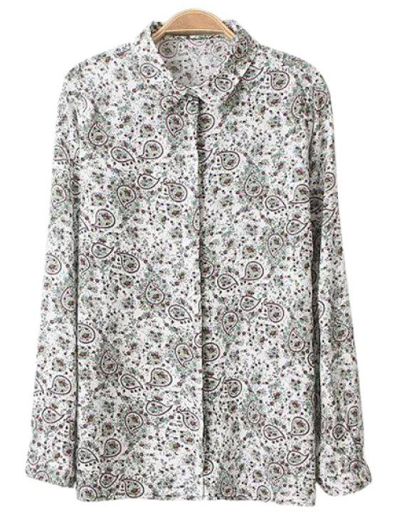 fashion Shirt Collar Tiny Floral Print Shirt - COLORMIX L