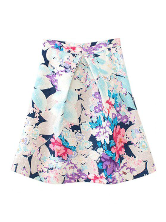 latest Pleated A-Line Floral Print Skirt - COLORMIX L