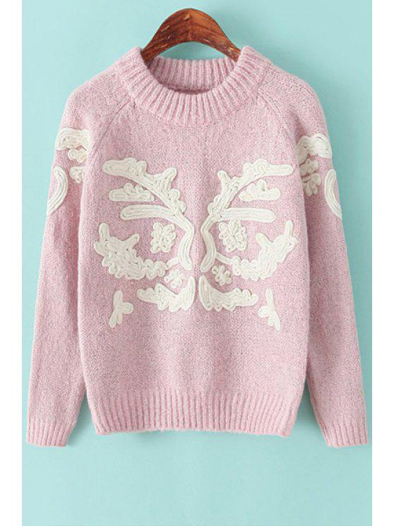 fashion Round Neck Embroidery Sweater - PINK ONE SIZE(FIT SIZE XS TO M)