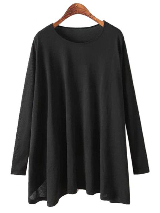 online Long Sleeves Solid Color T-Shirt - BLACK ONE SIZE(FIT SIZE XS TO M)