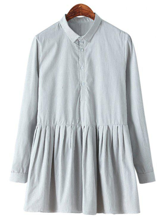 chic Striped Ruffled Long Sleeve Shirt - GRAY ONE SIZE(FIT SIZE XS TO M)