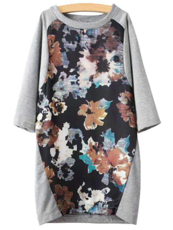 womens Floral Splicing 3/4 Sleeve Dress - GRAY S