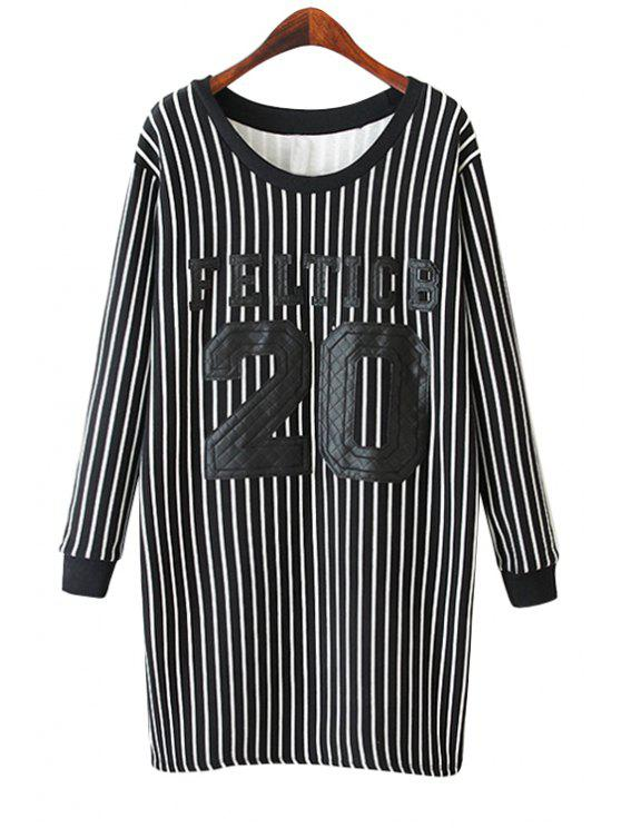 latest Number Pattern Striped Sweatshirt - BLACK ONE SIZE(FIT SIZE XS TO M)
