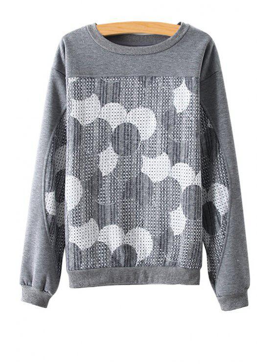 lady Long Sleeve Circle Pattern Sweatshirt - GRAY M