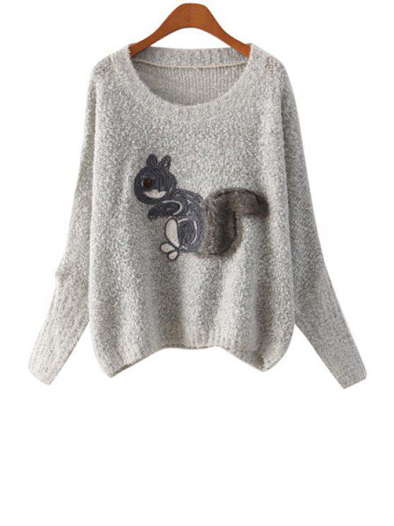 unique Long Sleeve Squirrel Pattern Sweater - GRAY ONE SIZE(FIT SIZE XS TO M)
