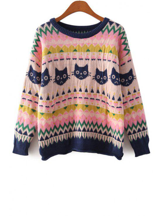 chic Kitten Pattern Long Sleeves Sweater - PINK ONE SIZE(FIT SIZE XS TO M)