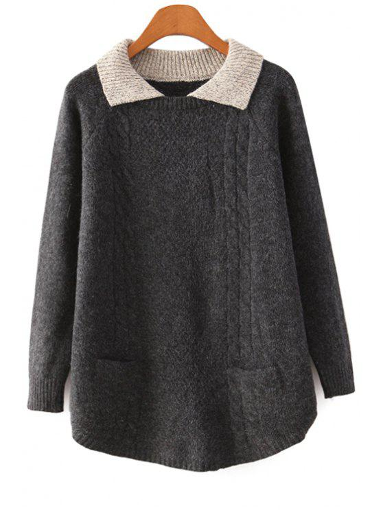 outfit Turn-Down Collar Color Block Sweater - BLACK ONE SIZE(FIT SIZE XS TO M)