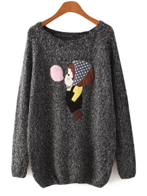 shops Long Sleeve Little Girl Pattern Sweater - BLACK ONE SIZE(FIT SIZE XS TO M)