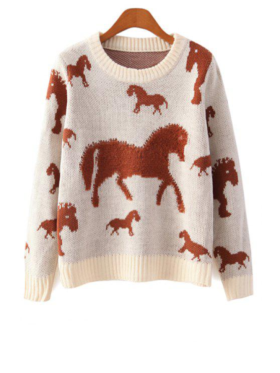 chic Long Sleeve Horse Pattern Sweater - OFF-WHITE ONE SIZE(FIT SIZE XS TO M)