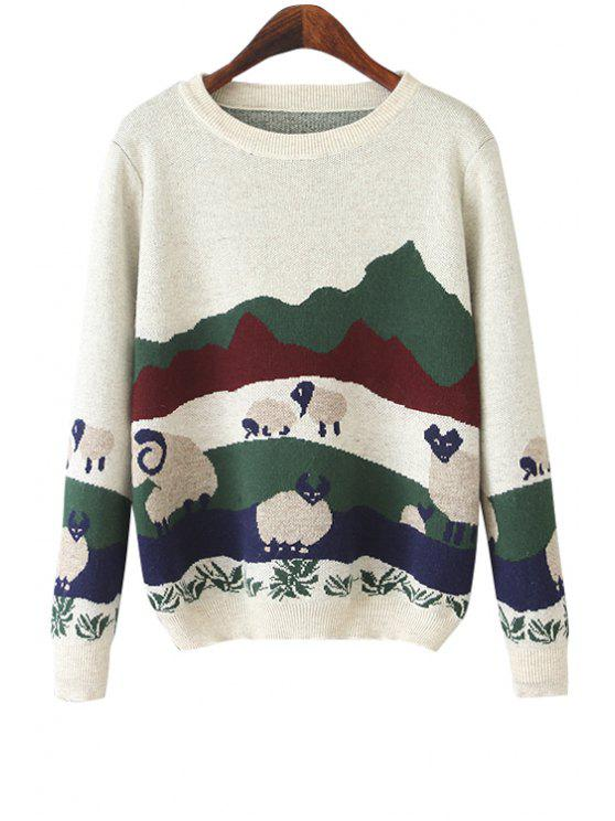 womens Long Sleeve Sheep Pattern Sweater - WHITE ONE SIZE(FIT SIZE XS TO M)