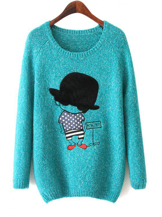 unique Long Sleeve Boy Pattern Sweater - BLUE ONE SIZE(FIT SIZE XS TO M)