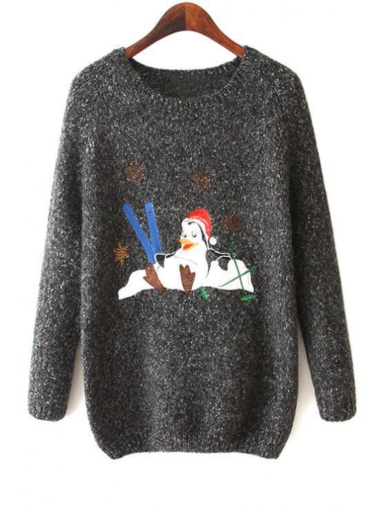 sale Long Sleeve Penguin Pattern Sweater - BLACK ONE SIZE(FIT SIZE XS TO M)
