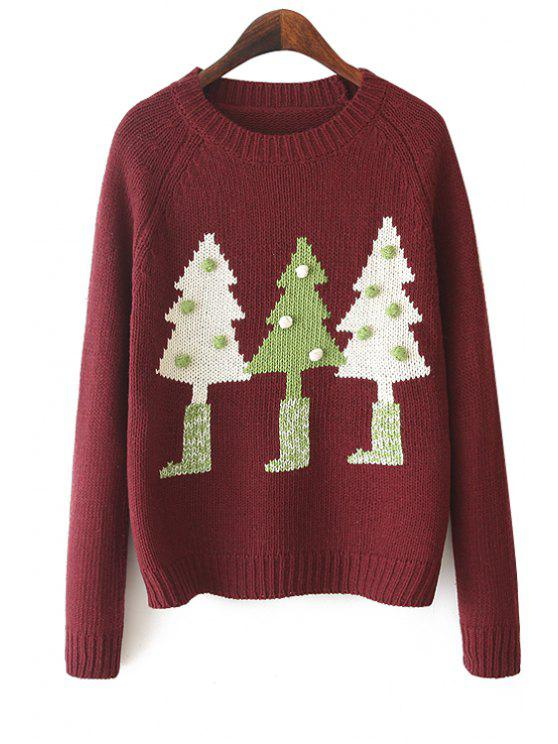 ladies Christmas Tree Pattern Sweater - RED ONE SIZE(FIT SIZE XS TO M)