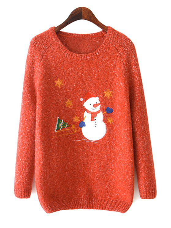 outfit Long Sleeve Snowman Pattern Sweater - ORANGE ONE SIZE(FIT SIZE XS TO M)