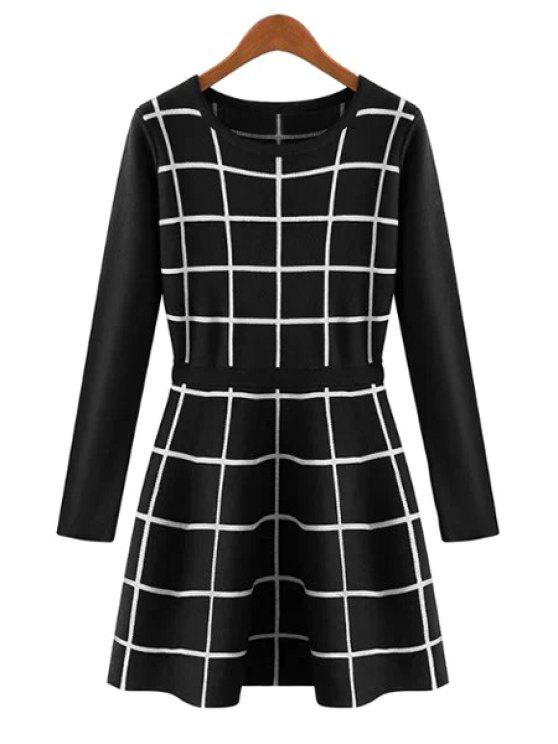 trendy Long Sleeve Checked Sweater Dress - BLACK M
