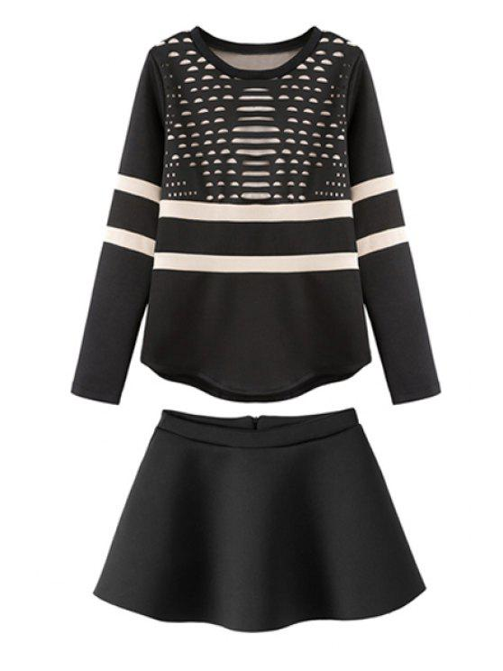 womens Striped Hollow Sweatshirt and A-Line Skirt Suit - BLACK S