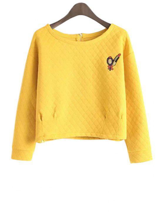 sale Long Sleeve Lipstick Embroidery Sweatshirt - YELLOW M