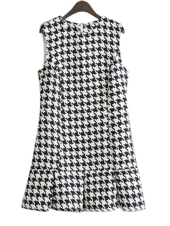 women's Sleeveless Houndstooth Pattern Dress - WHITE AND BLACK S