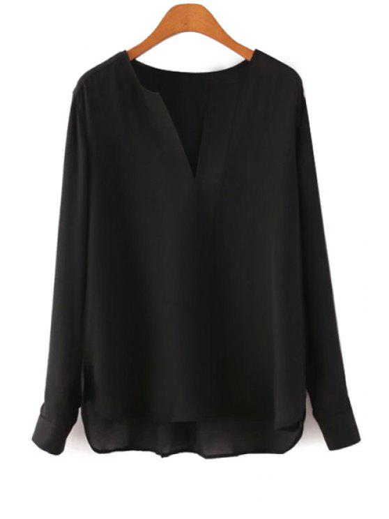 online V-Neck Solid Color Chiffon Blouse - BLACK S