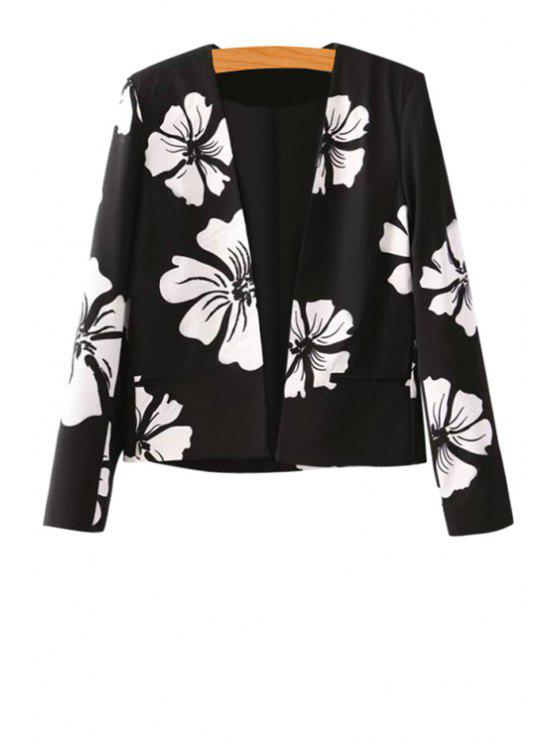 new Long Sleeve Floral Print Blazer - BLACK M