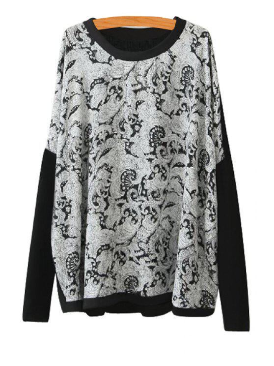 fashion Long Sleeve Print Splicing Knitwear - BLACK S
