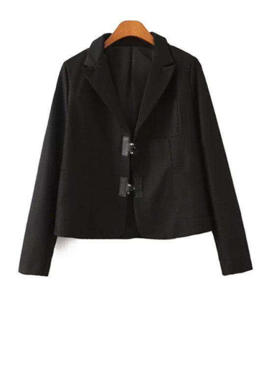 fashion Lapel Neck Solid Color Blazer - BLACK S