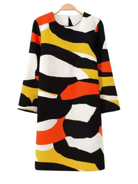 outfits Color Block 3/4 Sleeves Dress - COLORMIX S