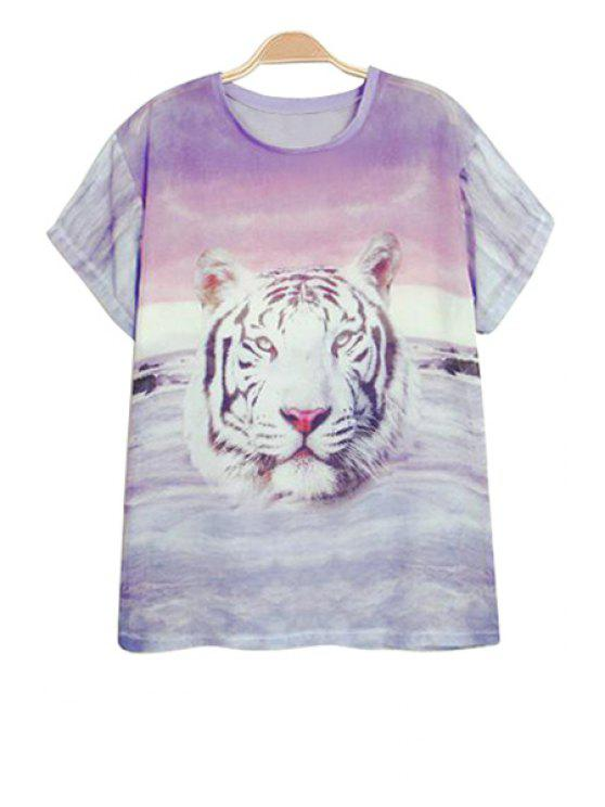 outfits Short Sleeve Tiger Print T-Shirt - COLORMIX S