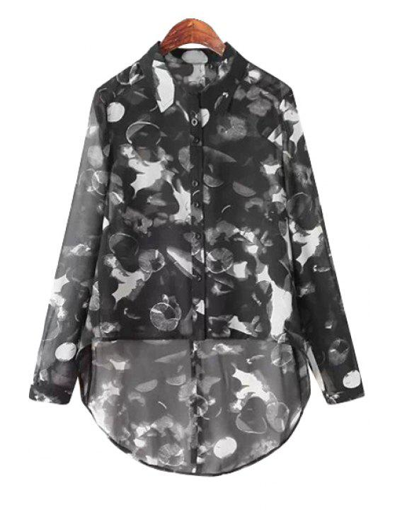 sale Print High-Low Hem Shirt - BLACK M