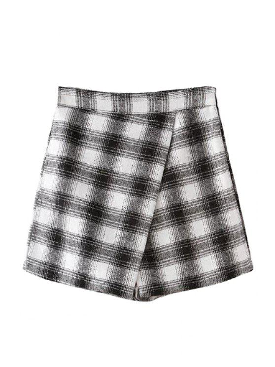 fashion Plaid Pattern A-Line Pantskirt - WHITE AND BLACK S