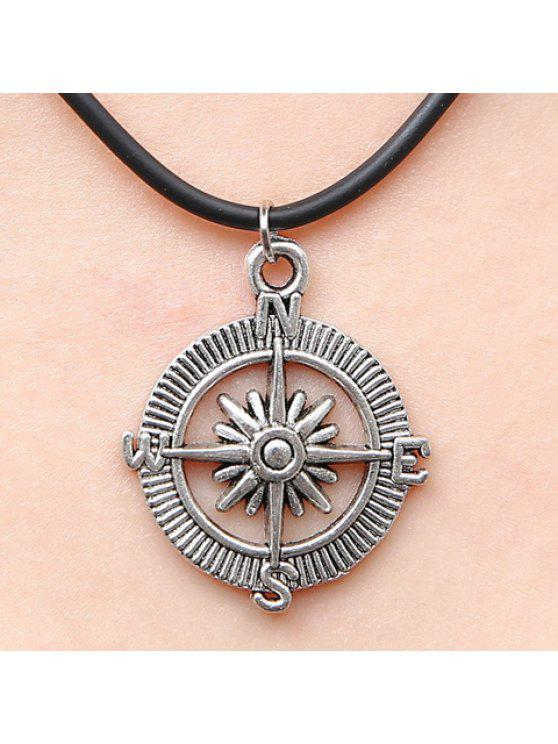 shops Stylish Women's Compass Pendant Necklace - SILVER