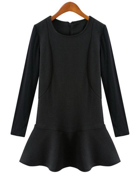 affordable Black Ruffles Splicing Dress - BLACK S