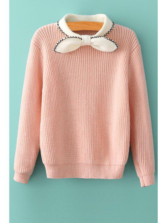 ladies Bowknot Color Block Sweater - PINK ONE SIZE(FIT SIZE XS TO M)