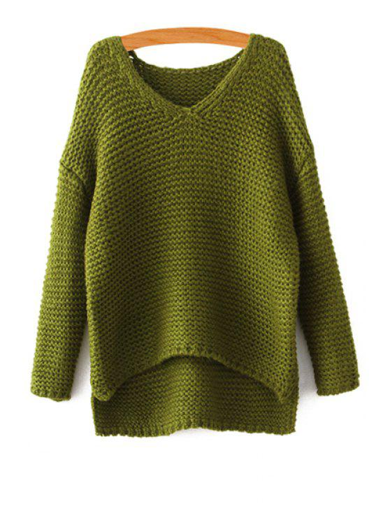 lady V-Neck High-Low Hem Sweater - GREEN ONE SIZE(FIT SIZE XS TO M)